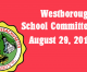 Westborough School Committee meeting – August 29, 2016