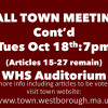 Town Meeting Continues (Tues Oct 18)