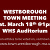 Town Meeting Today: Come on Down or Watch Live on WTV