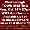 Town Meeting Monday Night (Oct 16) 7pm