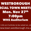 Special Town Meeting! Mon, Nov 27th 7pm