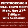 Special Town Meeting Mon, Nov 27th 7pm