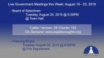Government Meetings This Week in Westborough: August 19 – 23, 2019