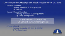 Government Meetings This Week in Westborough: September 16-20, 2019