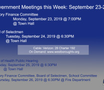 Government Meetings This Week in Westborough: September 23-27, 2019
