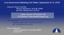 Government Meetings This Week in Westborough: September 9-13, 2019