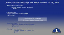 Government Meetings This Week in Westborough: October 14-18, 2019