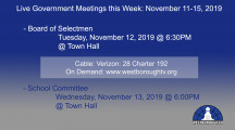 Government Meetings This Week in Westborough: November 11-15, 2019