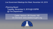 Government Meetings This Week in Westborough: November 4-8, 2019