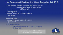 Government Meetings This Week in Westborough: December 1-6, 2019