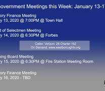 Government Meetings This Week in Westborough: January 13-17, 2020