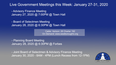 Government Meetings This Week in Westborough: January 27-31, 2020