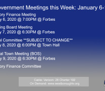Government Meetings This Week in Westborough: January 6-10, 2020