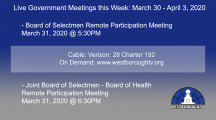 Government Meetings This Week in Westborough: March 30 – April 3, 2020