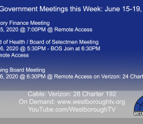 Government Meetings This Week in Westborough: June 15, 2020