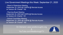 Government Meetings This Week in Westborough: September 21, 2020