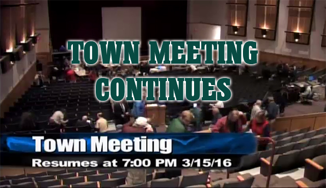 Westborough Town Meeting continues tonight.