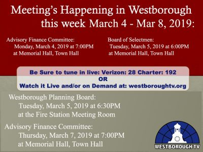 Government Meetings This Week in Westborough: March 4 – 8