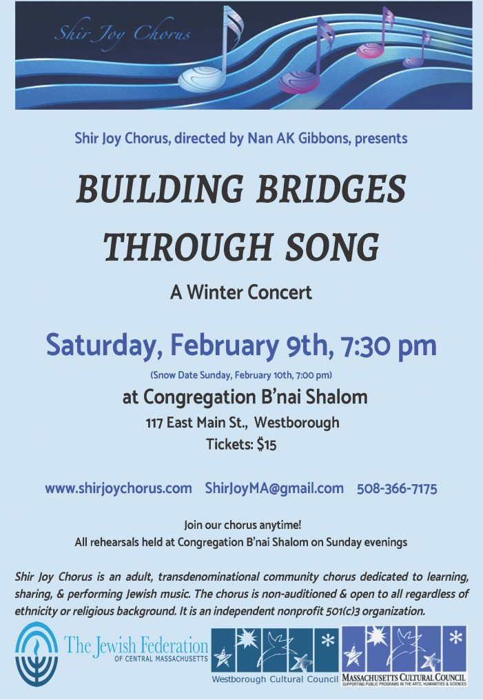 Shir Joy Chorus Concert – 2/9/19