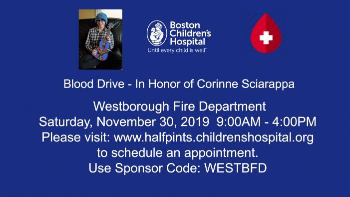 Blood Drive – In Honor of Corinne Sciarappa