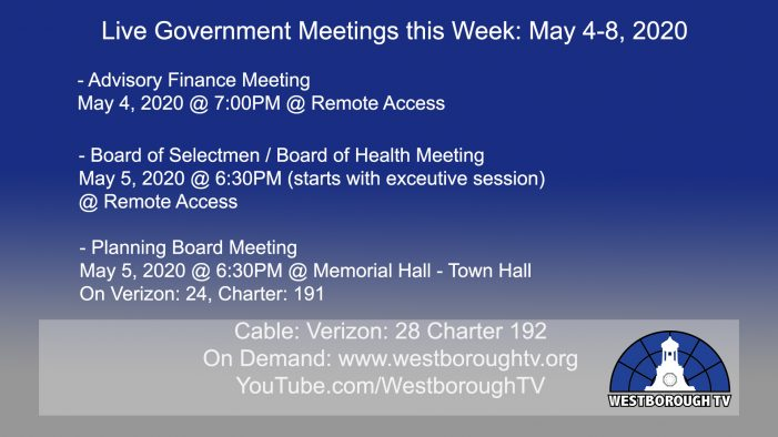 Government Meetings This Week in Westborough: May 4, 2020