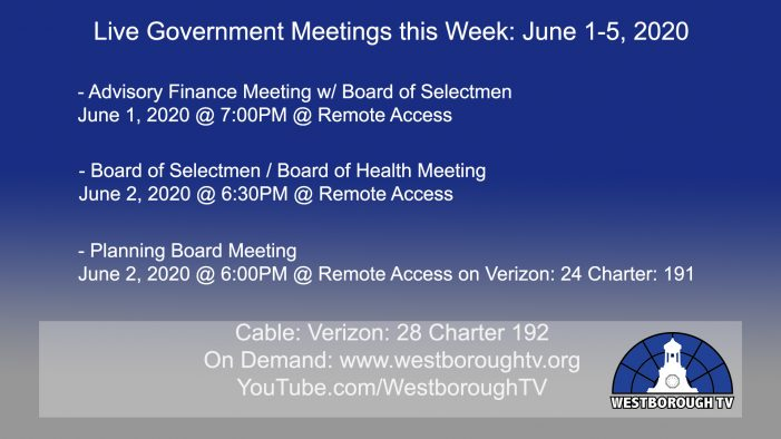 Government Meetings This Week in Westborough: June 1, 2020