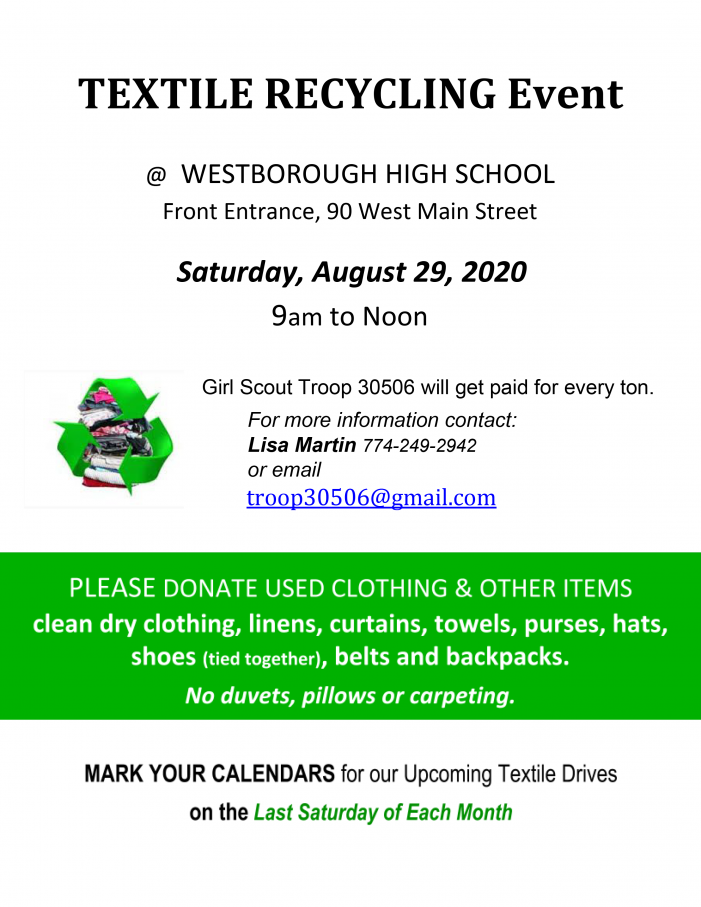 Textile Recycling Event – 8/29 – 9am-12pm!