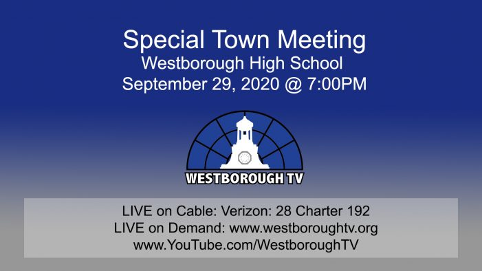 Government Meetings This Week Special Town Meeting 9/29/20