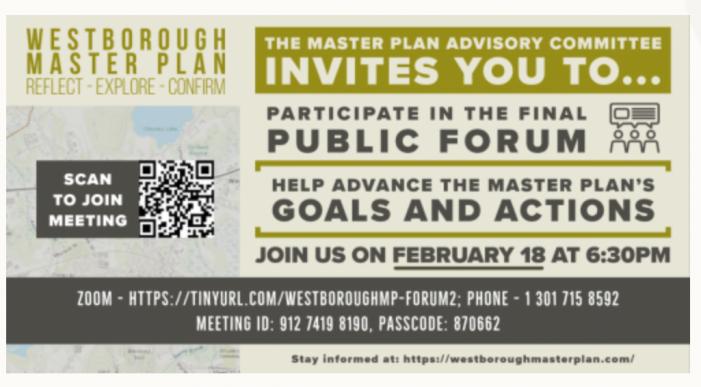 Westborough Master Plan Public Meeting #2 LIVE @ 6:30pm 2-18-21