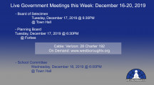 Government Meetings This Week in Westborough: December 16-20, 2019