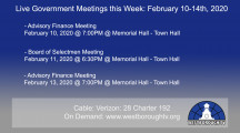 Government Meetings This Week in Westborough: February 10-14, 2020