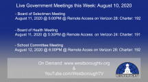 Government Meetings This Week in Westborough: August 10, 2020