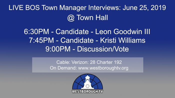 Town Manager Interviews!! & Government Meetings This Week: June 24-28, 2019