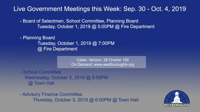 Government Meetings This Week in Westborough: September 30 – October 4, 2019