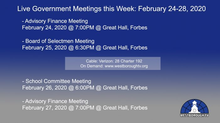 Government Meetings This Week in Westborough: February 24-28, 2020
