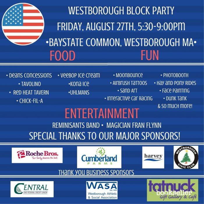 Westborough Block Party Fri 27th!