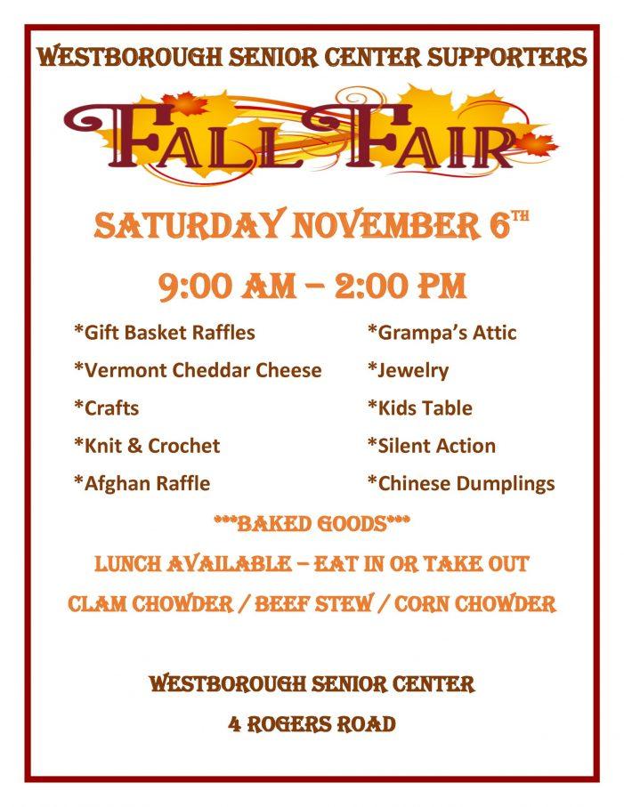 Fall Fair @ The Senior Center 11/6/21 9am-2pm